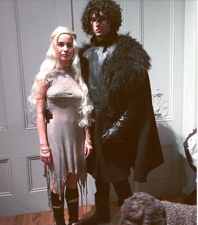 Ansel Elgort and Violetta Komyshan as Jon Snow and Daenerys Targaryen for Halloween.