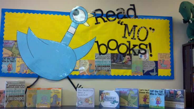 """Read """"MO"""" Books. Mo Willems' Pigeon. Library Bulletin Board Display. Seneca East Public Library."""