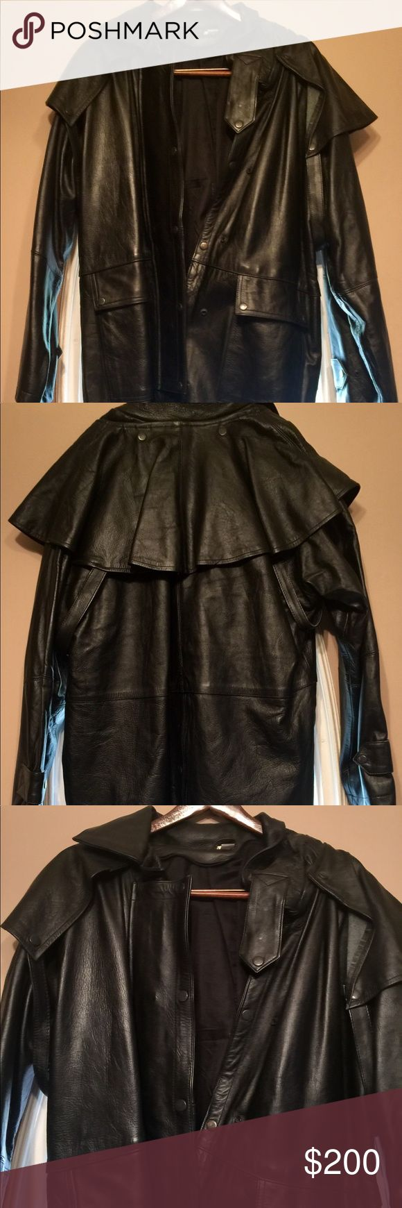 Men's Full Length Black Genuine All-Leather Duster Full length leather duster jacket.  Great Condition  size XL Jackets & Coats Trench Coats