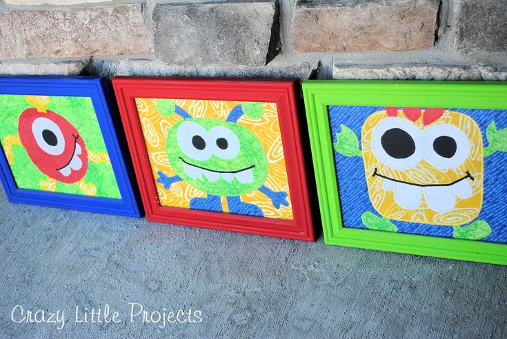 Decorate your kid's room with these monster pictures in colorful frames. Courtesy of Crazy Little Projects, these sewn-on pictures look exactly like they were drawn by a kid and are a great way to brighten up a room. Click in to learn more!