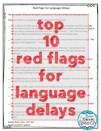 Top 10 Red Flags For Language Delays - Sweet Southern Speech