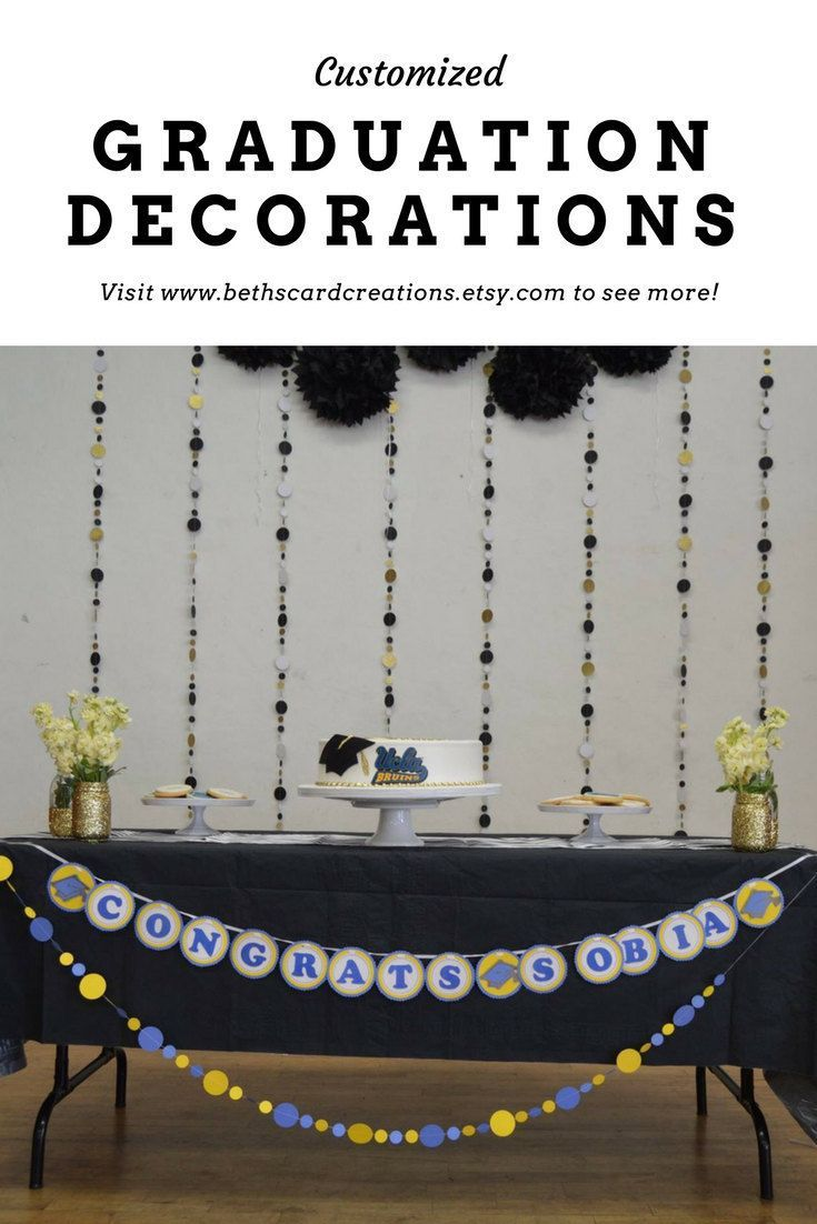 Customizable Congratulations Banner and garland decorations for graduation in your school colors http://etsy.me/2GNEAzM #customizable #congratulations #party #decoration #graduationbanner #graduationparty #banner #garlands