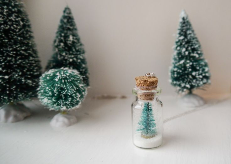 Christmas Tree Necklace - Christmas Tree Snow Globe Necklace - Christmas Gift - Stocking Filler - Vial Necklace - Mini Bottle Necklace - UK by craftyrachael on Etsy https://www.etsy.com/uk/listing/259985238/christmas-tree-necklace-christmas-tree