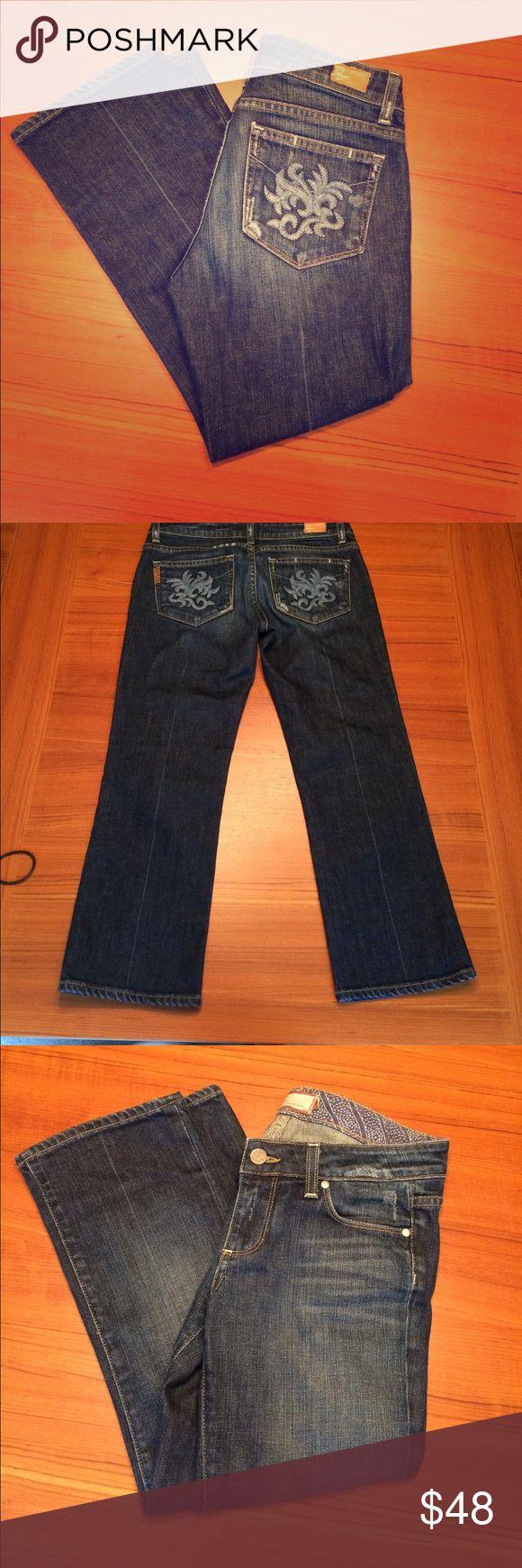 Paige jeans Laurel Canyon size 27 Gorgeous Paige jeans. Laurel Canton style.  Detail on back pockets. Light distress.  Crop. Excellent/ like NEW condition. PAIGE Jeans Ankle & Cropped