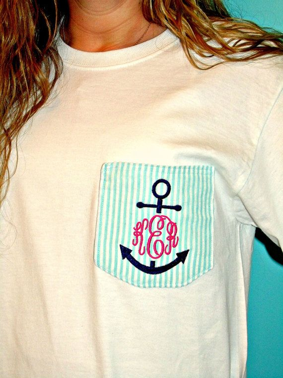 Preppy Anchor Monogrammed Fabric Pocket Tee Tshirt on Etsy, $20.00