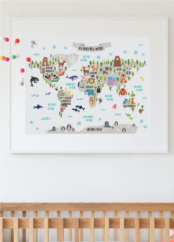 This amazing animal world map poster will add a special touch to your already wonderful nursery and will bring your child countless opportunities to learn about the world as she grows. It will also make an unique gift to a special little boy or girl in your life.   PLEASE NOTE: You are purchasing a digital file only. NO PRINTED MATERIALS OR FRAME ARE INCLUDED!  -------------------------------------------  FILES INCLUDED  • 1 JPG 14x11 • 1 JPG 20x16 • 1 JPG 30x20 • 1 JPG 36x24 • 1 JPG 54x36…