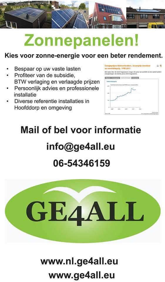 ZONNEPANELEN! Kies voor Zonne-energie voor een beter rendement. 0654346159 www.nl.GE4ALL.eu