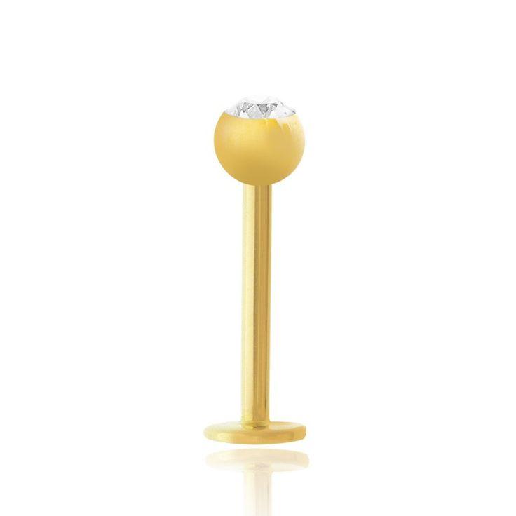 PIercing labret en or jaune avec oxyde de zirconium