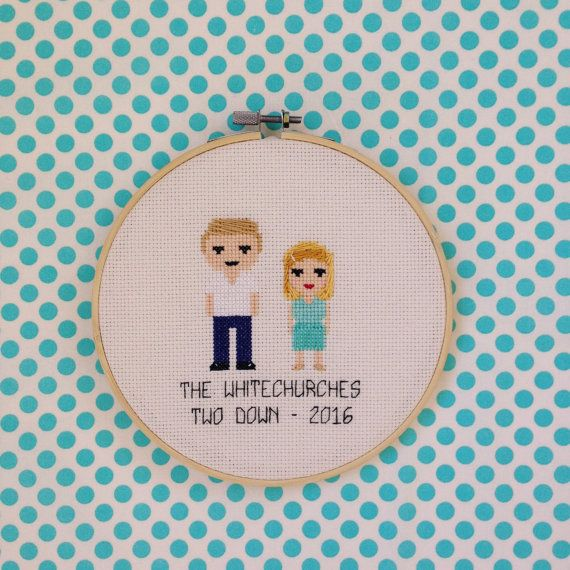 Completed Custom Cross Stitch Family Portrait  by peaceandstitches #custom #crossstitch #cross #stitch #engagement #wedding #anniversary #gift #present #unique #personalized #cotton #linen