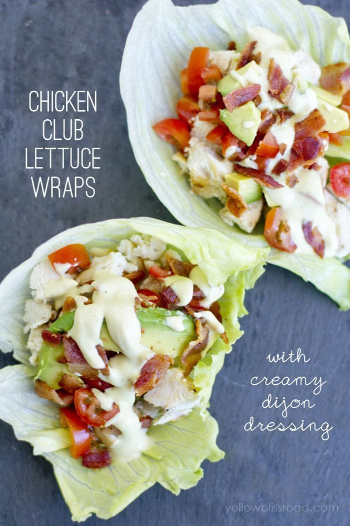 Chicken Club Lettuce Wraps with Creamy Dijon Dressing