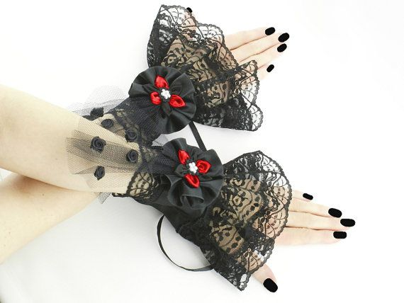 Goth victorian black cuff victorian cuffs by FashionForWomen