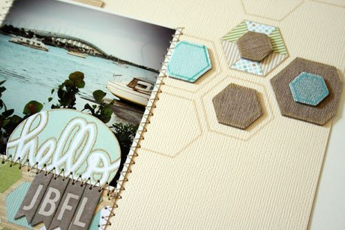 Scrapbook layout. Hexagons, color, stitching...: Scrapbook Ideas, Start Scrapbook, Colors Combinations, Nice Ideas, Colors Schemes, Scrapbook Layout, Scrapbook Pages, Hexagons Ideas, Honeycombs