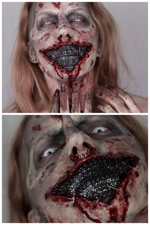 DIY Closed Mouth Zombie FX Makeup Inspiration from Sandra Holmbom. A piece of jewelry is used to cover Sandra's mouth. Go to the link for products used and more photos. For more amazing Halloween and cosplay makeup from Sandra Holmbom go here: halloweencrafts.tumblr.com/tagged/psychosandra. For Sandra Holmbom's scariest Halloween Makeup EVER go here.