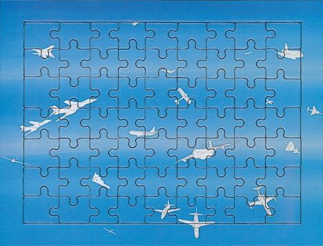 Alighiero Boetti Jigsaw from a series produced in 1994 for Austrian Airlines based on one of Boetti's works, Cieli ad alta quota (High skies) 1993