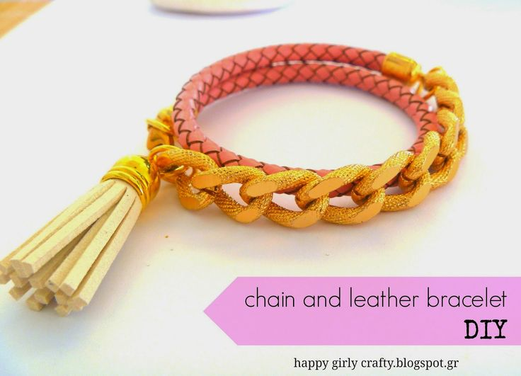 chain and leather wrap bracelet diy