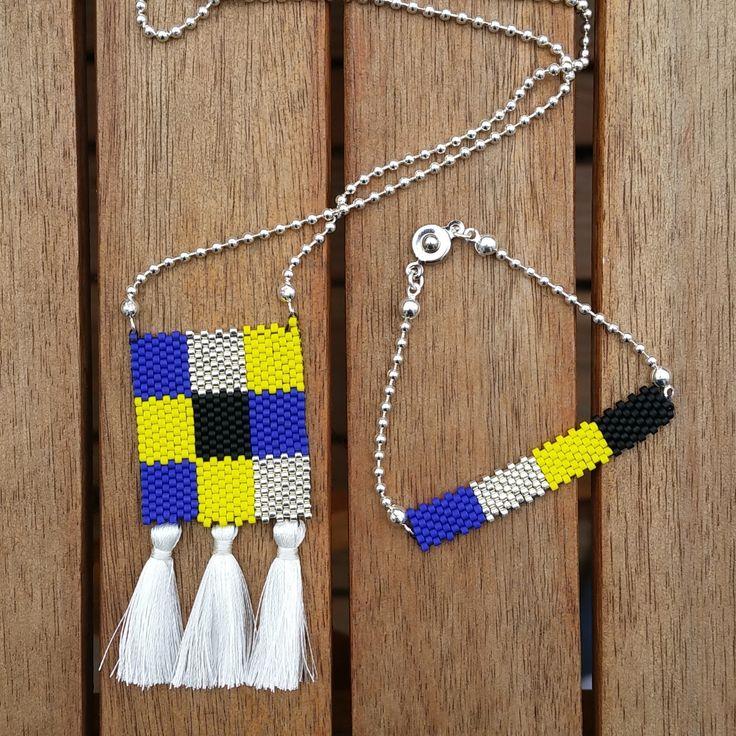 Parure sautoir et bracelet en perles Miyuki, bleu, jaune, noir, blanc et argenté