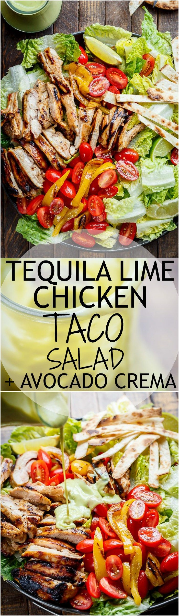 Tequila Lime Chicken Taco Salad with an Avocado Crema spiked with honey, lime and booze. Complete with tortilla strips, have a chicken taco in a salad! | http://cafedelites.com