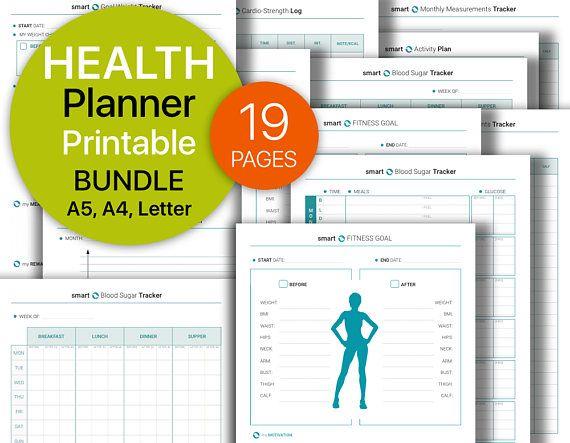 HEALTH FITNESS Planner BUNDLE Weight Loss Progress Workout