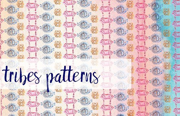 Tribal Watercolour Pattern by MARSOSE on @creativemarket