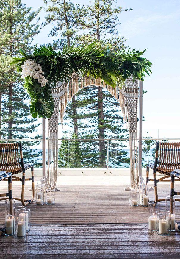 Overlooking Manly Beach in Sydney, Beachside Dojo, wedding arch