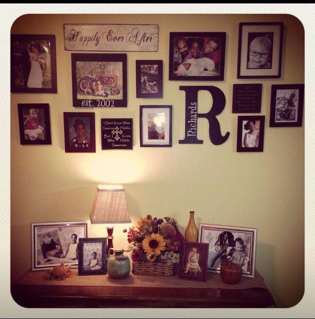 Photo wall used frames i had around house and ones i bought at garage