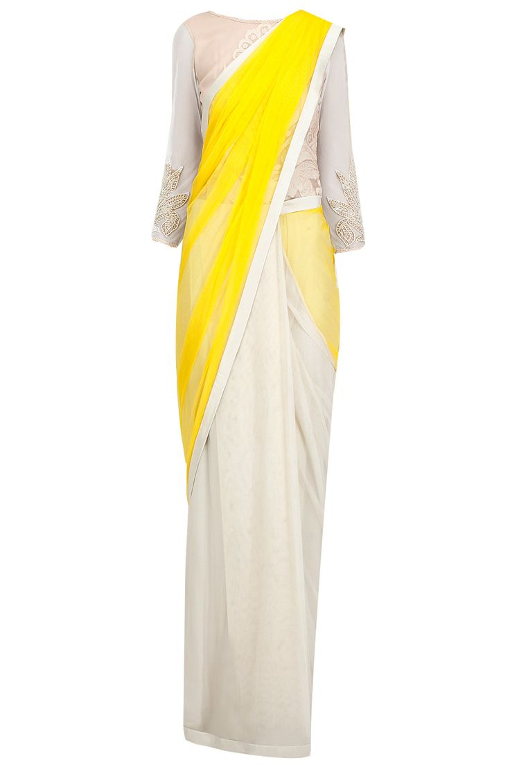 Yellow and ivory embroidered sari gown available only at Pernia's Pop-Up Shop.