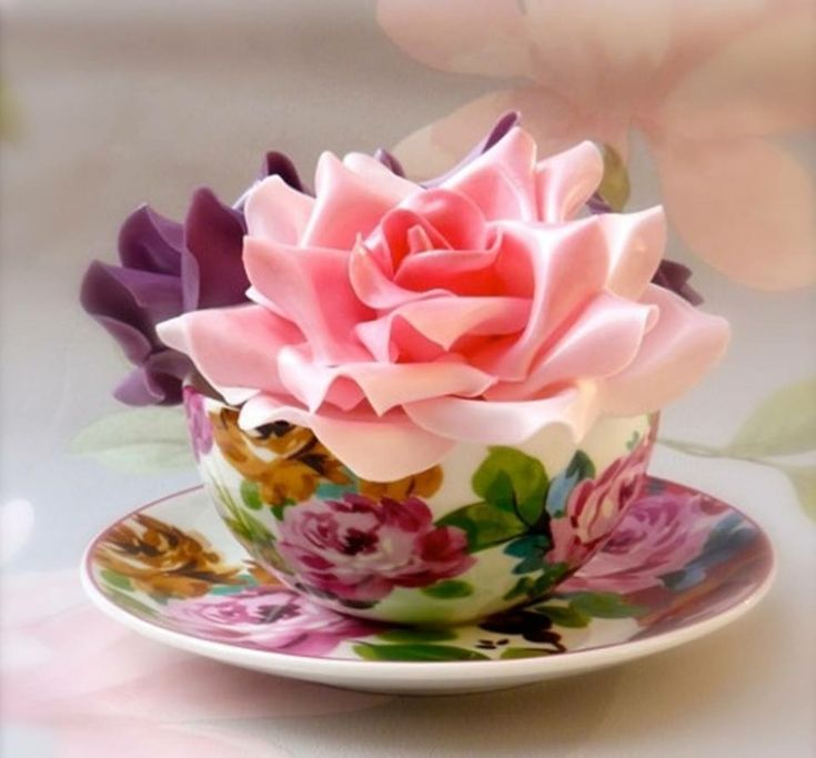 Открытка с днем рождения чашка с цветами