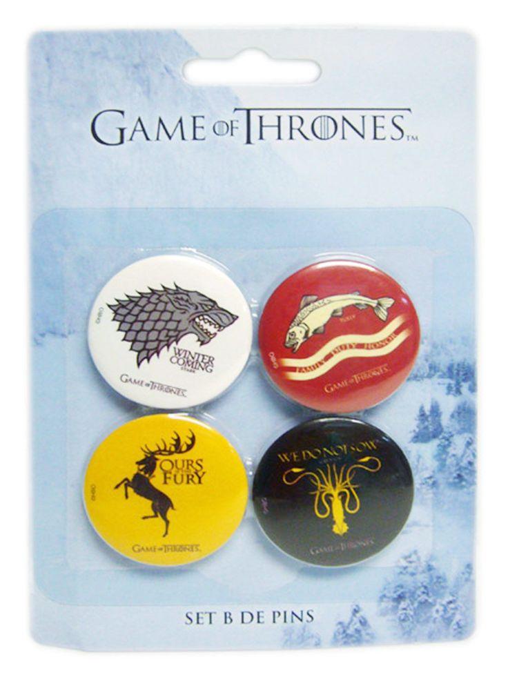 Game of Thrones Button-Set Lizenzartikel 4-teilig bunt 32mm. Aus der Kategorie Fanartikel Film, Serie & Kult. Es gibt keinen Zweifel daran, dass Game of Thrones wohl eine der erfolgreichsten Fantasy-Serien aller Zeiten ist. Die Sagenwelt von George R. R. Martin ist unglaublich fantastisch und vielschichtig und bietet alles, was den Fantasy-Fan glücklich macht. Mit diesem großartigen Game of Thrones Button Set zeigen Sie Flagge für eines von 4 großen Häusern von Westeros. Ein Muss für Fans!