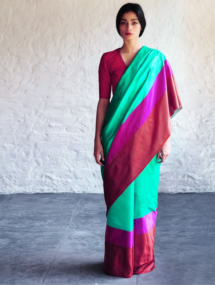 Turquoise Red Sultanah Silk Saree By Raw Mango