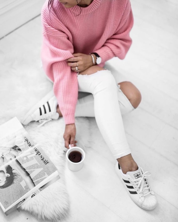 """See? I do wear colour: the pale pink + white formula is officially back on my agenda.  by @janetakethphotos #designersremix #adidasoriginals #framedenim…"""