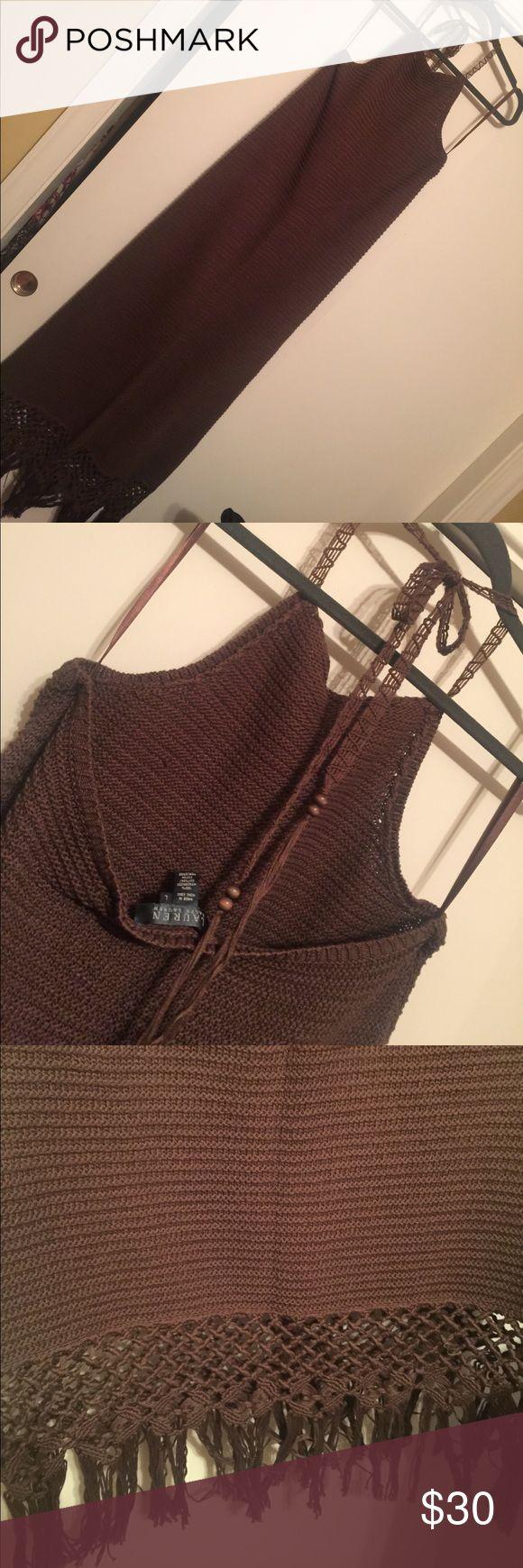 Ralph Lauren  Crochet Halter Maxi Dress Chocolate brown crochet maxi dress with fringe detail at hem, beading at end of ties. Worn once. Lauren Ralph Lauren Dresses Maxi