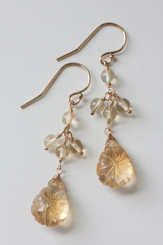 Citrine earrings Teardrop citrine earrings Gold by moemiSugimura