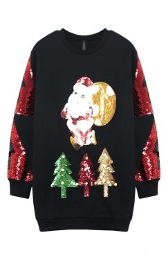 Black Cute Santa Sequins Long Sleeves Ladies Jumper Sweatshirt on sale at reasonable prices, buy cheap Black Cute Santa Sequins Long Sleeves Ladies Jumper Sweatshirt online at PinkQueen.com now!