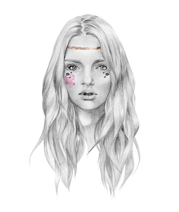 Portfolio: www.birdyandme.com.au  Kelly Smith lives and works in Tasmania, Australia. In 2006 she graduated with a Bachelor of Fine Arts from the Tasmanian School of Art and has since gone on to pursue of a freelance career in both portrait and fashion illustration. // #hippie #drawing
