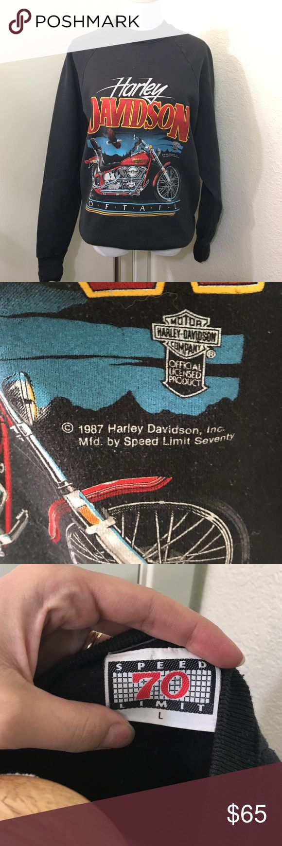 Vintage 1987 Harley Davidson Sweatshirt From the US to Australia Vintage Harley items are a must have for the fashion set and are increasingly getting harder to find. Tag says size L but fits like a woman's S/M. In good vintage condition. 🚫NO TRADES, questions from serious buyers only Harley-Davidson Tops Sweatshirts & Hoodies