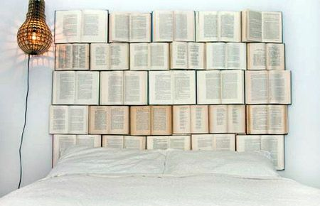 """from """"10 Most Creative Furniture Inspired by Books"""" using old books to fashion a stylish headboard."""