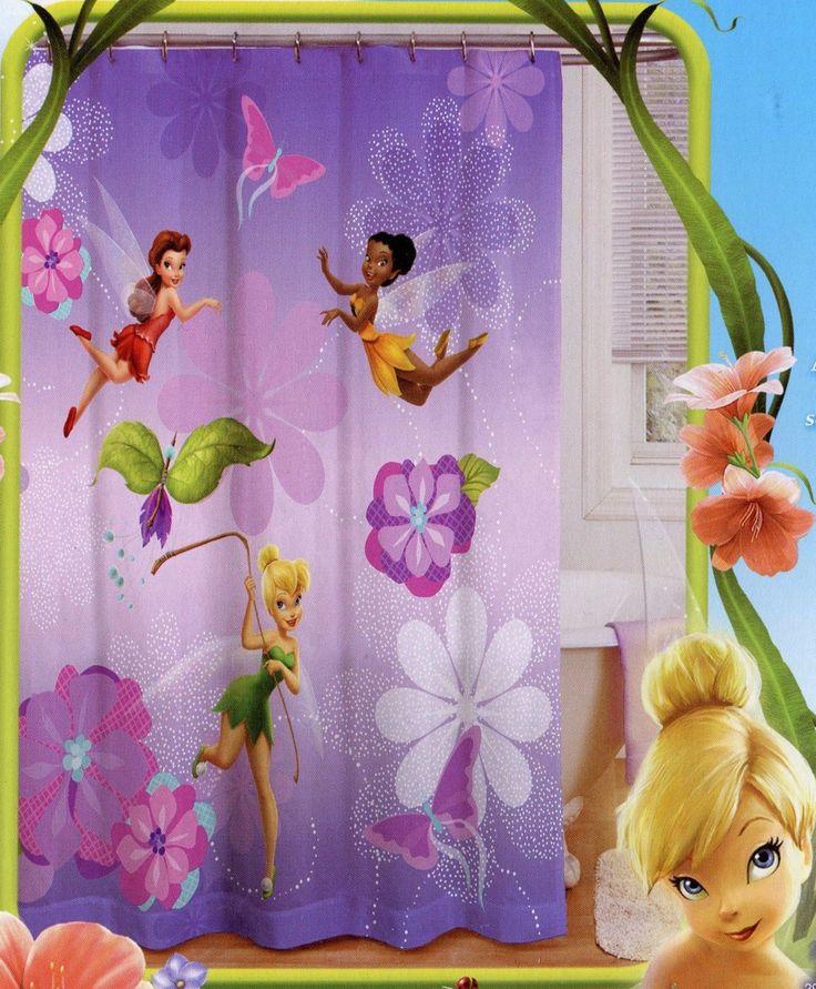 Tinker Curtain Girls Guest Bathroom Curtains. Tinkerbell Bathroom Set   Thedancingparent com