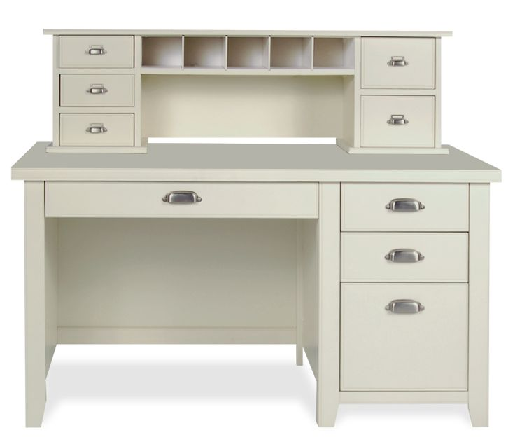 White desk with small hutch and drawers i like the drawer - Bureau ikea noir et blanc ...