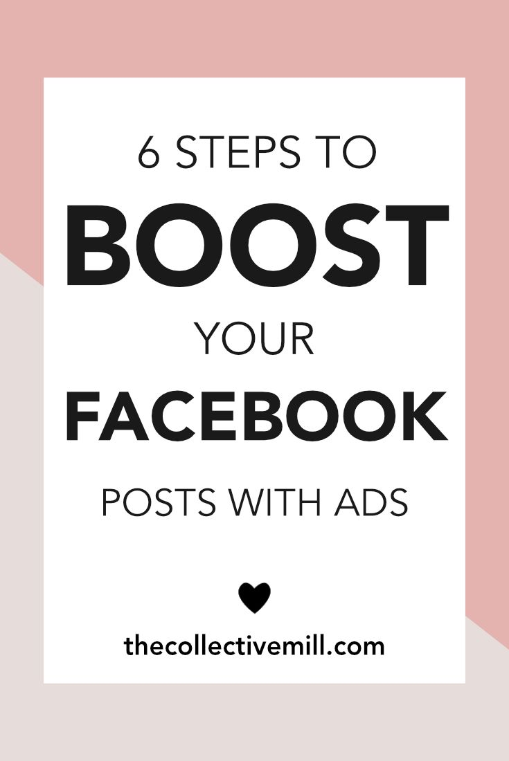 6 Steps to Boost Your Facebook Posts With Ads: Facebook ads are an easy way to share your posts with an audience larger than you could reach on your own. So if you'd like to reach more people with your posts, Facebook ads can be pretty amazing. If you're a small business owner, blogger, infopreneur, freelancer, or anyone else trying to brand their business and get more exposure, this article is for you. Click on the link to learn more. TheCollectiveMill.com