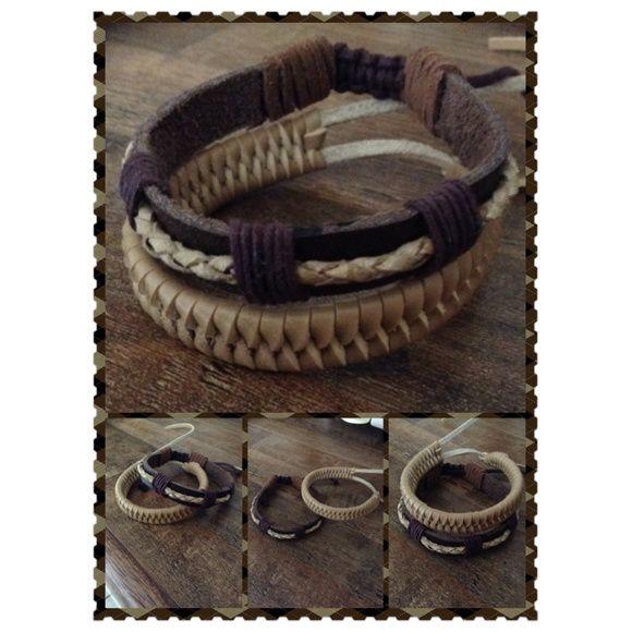 Conjunto de pulseiras de couro