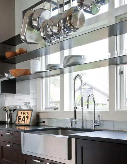 perfect:  dark lower cabinets; open shelving across windows and above sink