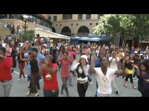 Vodacom Flash Mob at Nelson Mandela Square in Support of Bafana Bafana at FIFA World Cup 2010 #Africa #FlashMob #Flash #Mob