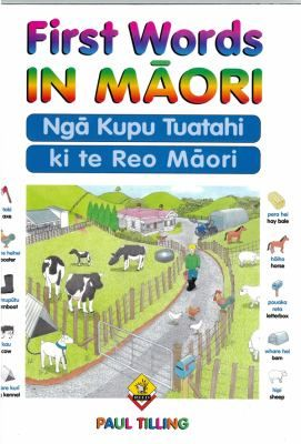 Pictures and text present Māori vocabulary for objects found in a variety of everyday situations, together with their English equivalents. Each double page spread covers a different theme, for example the park, the classroom, the building site, and the marae.
