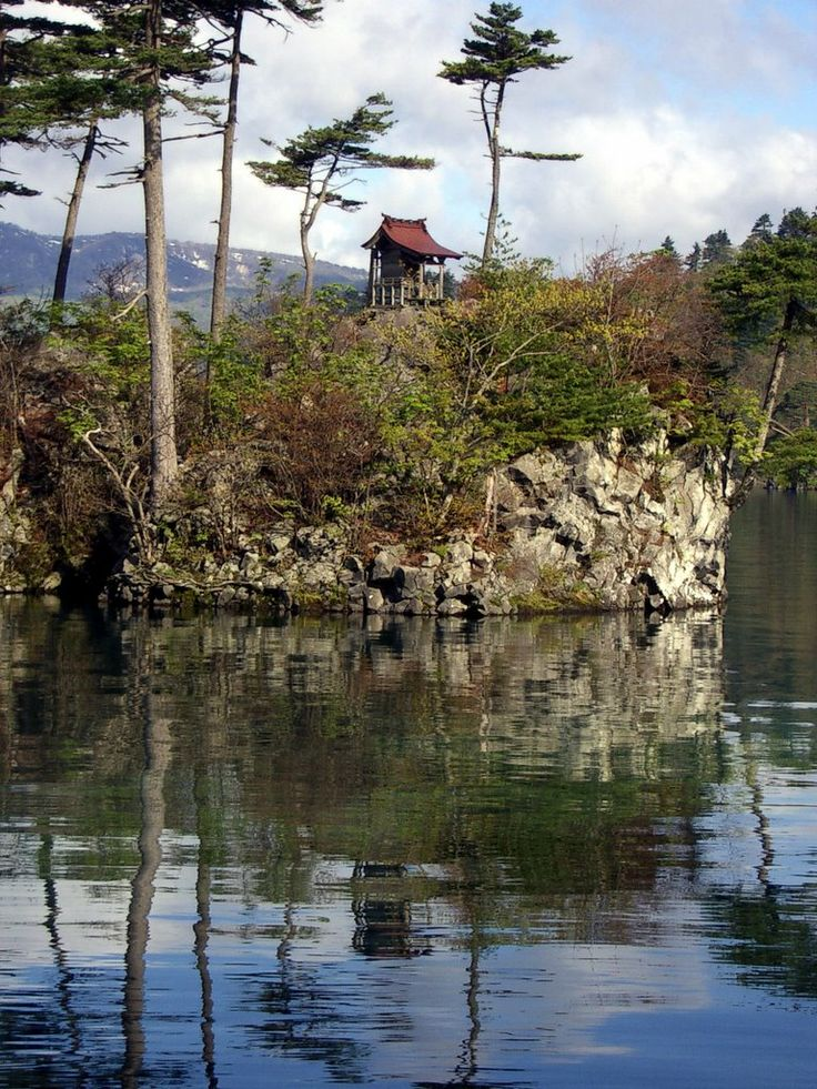 Shrine on Island in Lake Towada