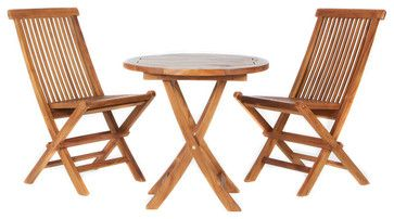 Teak 3-Piece Bistro Set contemporary-outdoor-pub-and-bistro-sets