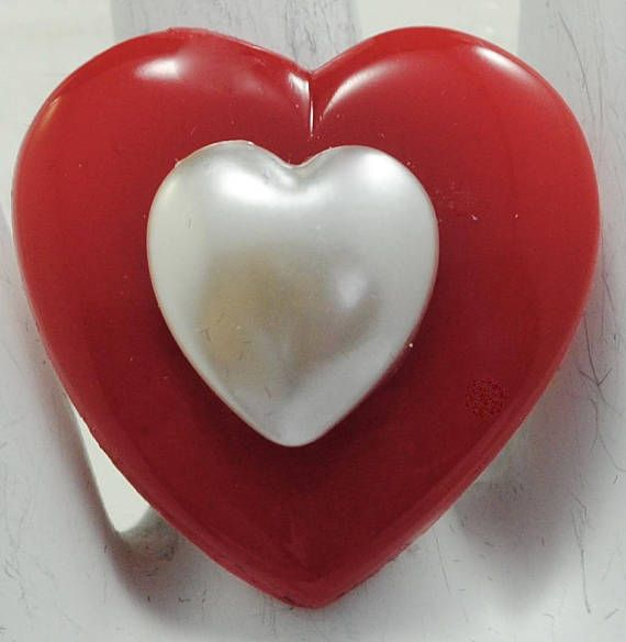 Red Heart Ring/White Pearl/Valentine's Day Ring/Love