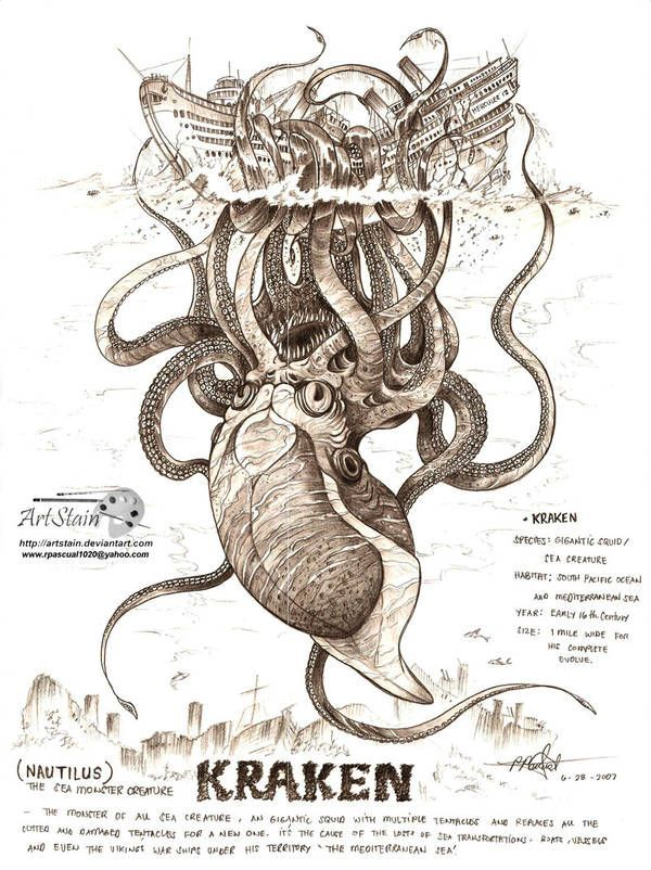 kraken attack by artstain,  #artstain #attack #Kraken #OctopusTattookraken
