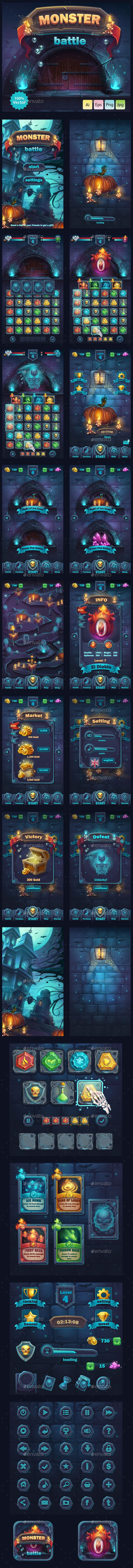 Monster Battle GUI Download link: https://graphicriver.net/item/monster-battle-gui/19841074?ref=klitz