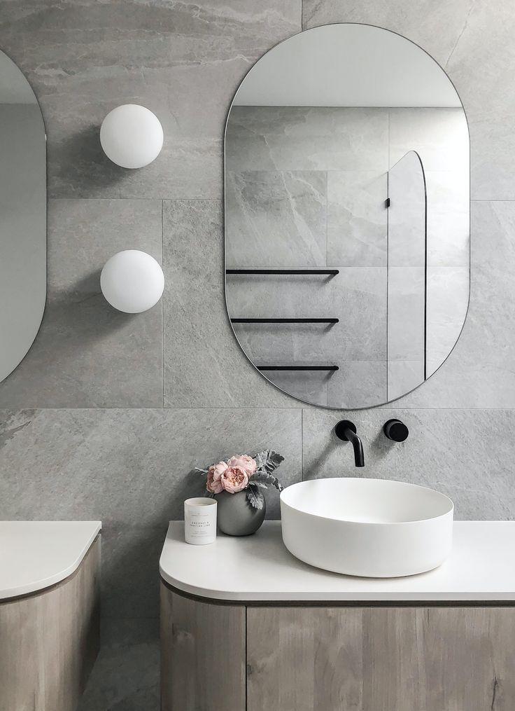 Modern Bathroom Vanity Curved Cabinetry Modern Bathroom Modern Bathroom Vanity Bathroom Inspiration Decor