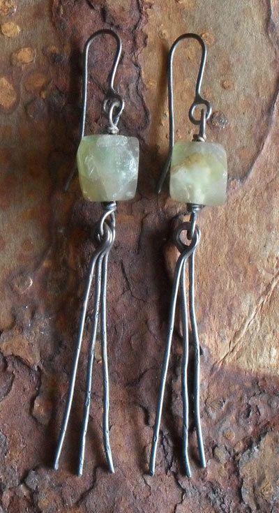 Fluorite & Bronze Tribal Dangle Earrings, Sterling Silver Green Stone Earrings, Urban Rustic Primitive Oxidized Metalsmith Earrings. $45,00, via Etsy.